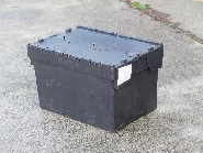60 ltr attached lidded USED Plastic box heavy duty