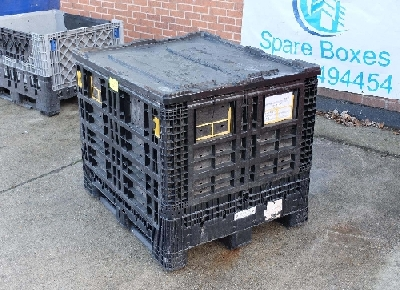 We have available for immediate delivery over 70 heavy duty FOLDING MAGNUM pallet boxes. Some with Drop open front doors. These pallet boxes are in good condition free from cracks with all hinges in tact and fully operational. COLOUR BLACK GREY and a few blue left.